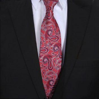 Red, Navy & White Paisley Mens Tie
