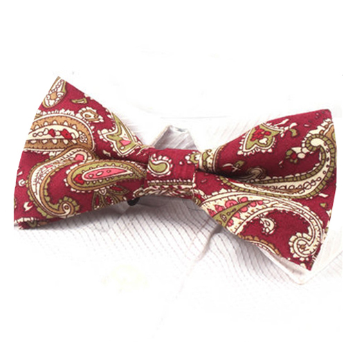 Dark Red Paisley Bow Tie
