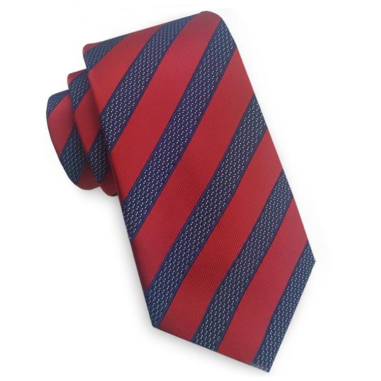 Red with Blue & White Stripes Slim Tie