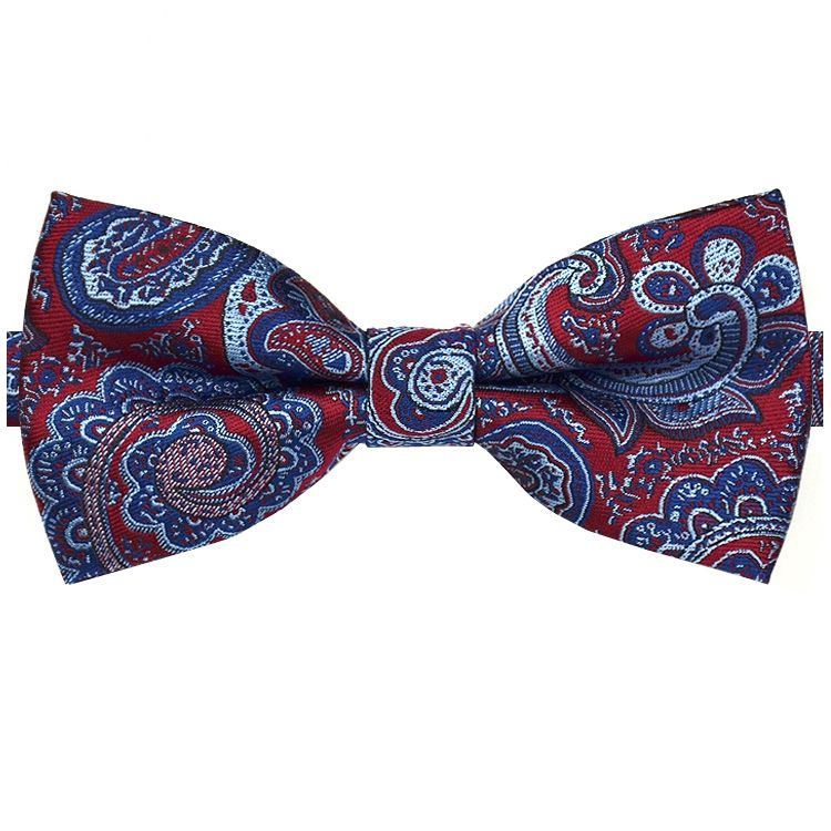 Red with Dark & Light Blue Paisley Bow Tie