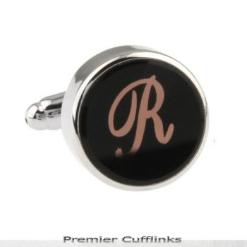 SINGLE BLACK WITH ROSE GOLD INITIAL R CUFFLINK