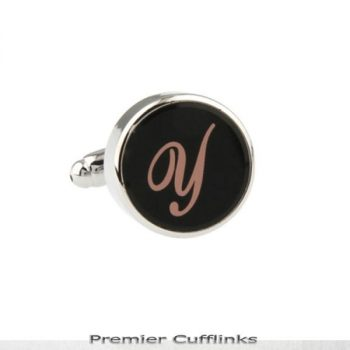 SINGLE BLACK WITH ROSE GOLD INITIAL Y CUFFLINK