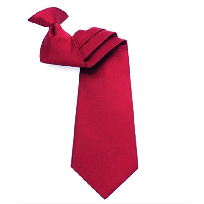 Mens Scarlet Red Clip On Tie