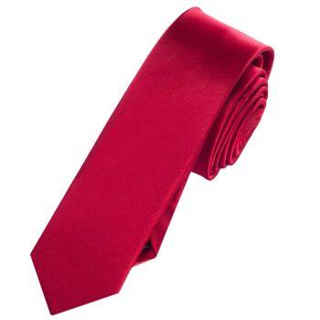 Mens Scarlet Red Skinny Tie