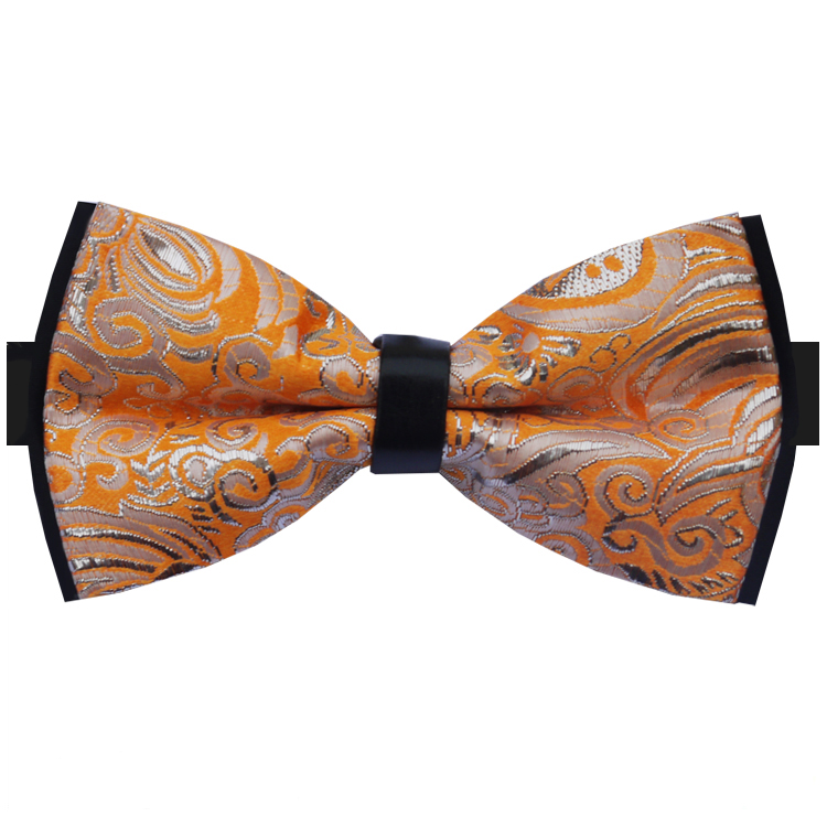 Silver and Orange Floral Design Bow Tie