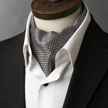 Men's Silver & Black Interlocking Design Ascot Cravat