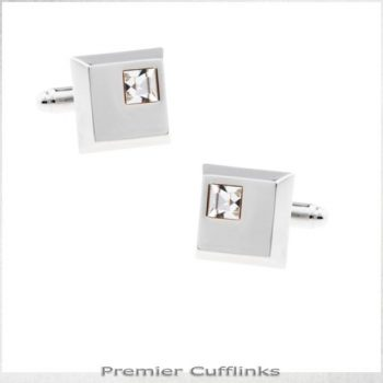SILVER SQUARE WITH CRYSTAL INSET CUFFLINKS