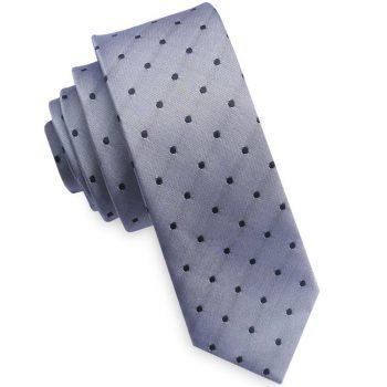 Silver With Black Polkadots Mens Skinny Tie
