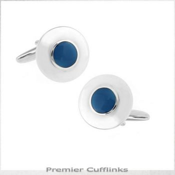 SILVER WITH AZURE BLUE INSET CUFFLINKS