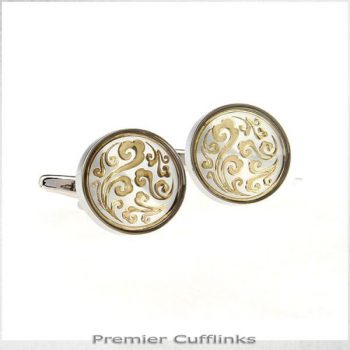 SILVER WITH GOLD FLORAL PATTERN CUFFLINKS