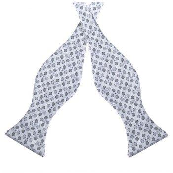 Silver With Grey Polkadots Self Tie Bow Tie