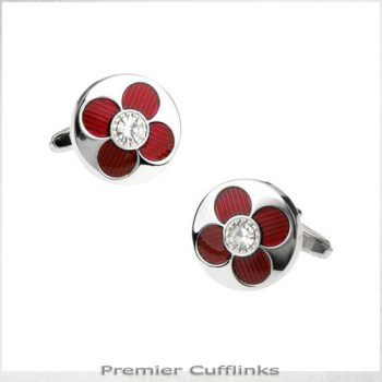 SILVER WITH RED PETAL CUFFLINKS
