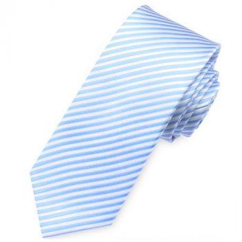 Sky Blue & White Thin Stripes Mens Necktie