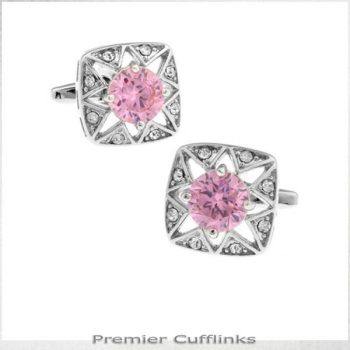 STAR BORDER WITH PINK INSET CUFFLINKS