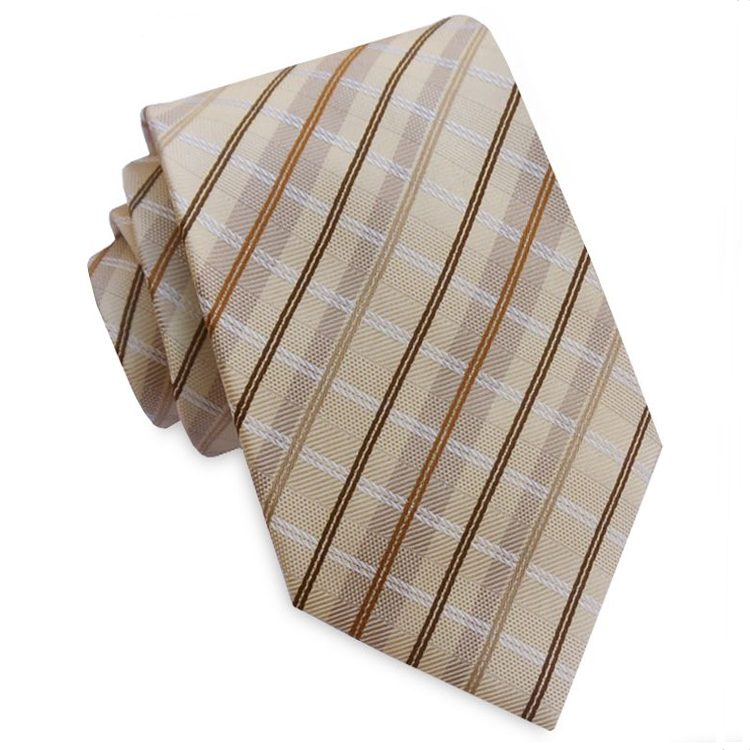 Tan with Brown, White and Mocha Crosshatch Mens Tie
