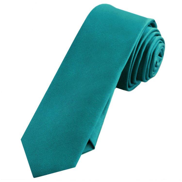 Mens Teal Green Skinny Tie