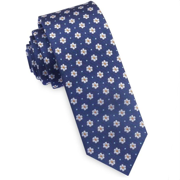 Textured Navy Blue With Floral Pattern Mens Skinny Tie