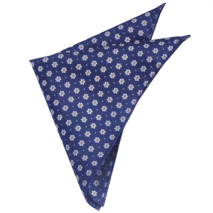 TEXTURED NAVY BLUE WITH FLORAL PATTERN POCKET SQUARE