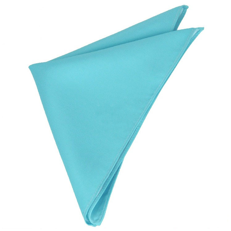 Mens Turquoise Aqua Blue Pocket Square Handkerchief