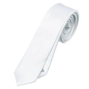 Mens White Skinny Tie
