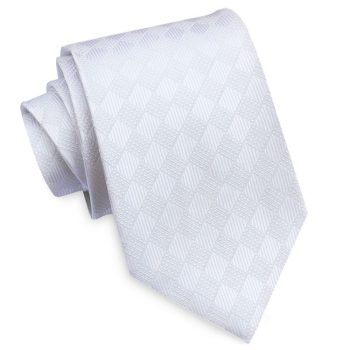 White Textured Diamonds Mens Tie