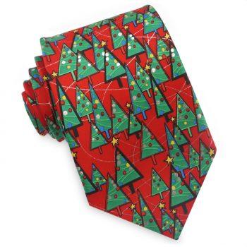Red Christmas Tree Pattern Tie