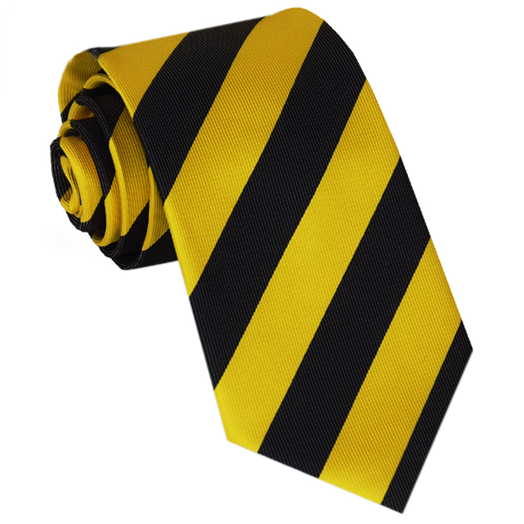 Yellow & Black Stripes Mens Sports Necktie