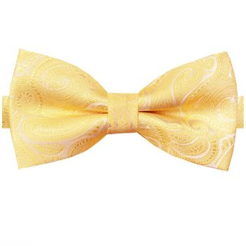 Light Gold Paisley Design Bow Tie