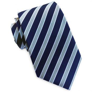 Dark Blue With Silver & White Stripes Tie