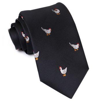 Black With Chickens Slim Tie