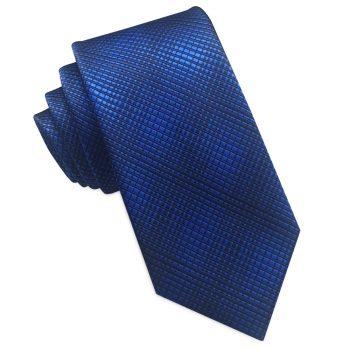 Blue And Black Crosshatch Slim Tie