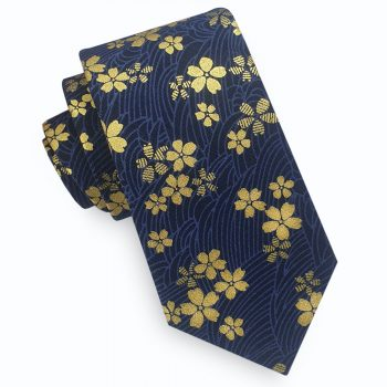 Blue & Gold Asian Floral Slim Tie