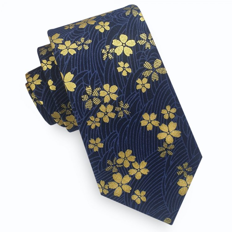 Blue & Gold Asian Floral Slim Tie