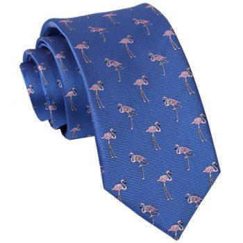 Blue With Flamingos Slim Tie