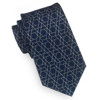 Dark Blue With Hexagonal Pattern Slim Tie
