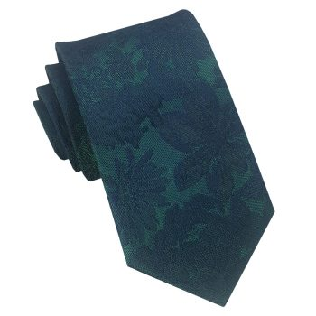 Green With Dark Green Floral Slim Tie