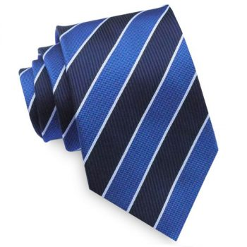 Navy Royal Blue & White Stripes Mens Tie