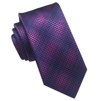 Blue And Pink Crosshatch Slim Tie