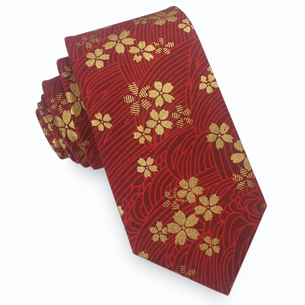 Red & Gold Asian Floral Slim Tie