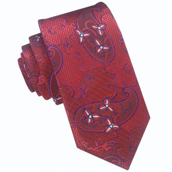 Red With Blue And White Paisley Slim Tie