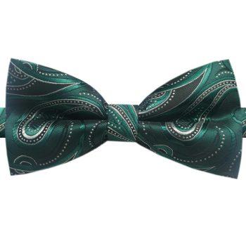 Green, Black & White Paisley Bow Tie
