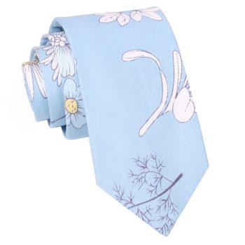 Light Blue Floral Slim Tie