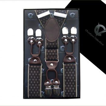 Black With LV Pattern Leather Attachment Braces