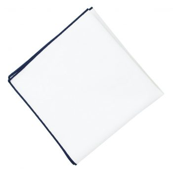 White With Dark Blue Trim Pocket Square