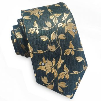 Green With Gold Floral Slim Tie
