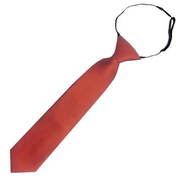 Rust Dark Terracotta Junior Boys Elasticated Tie
