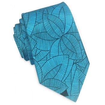 Turquoise With Black Geometric Leaves Slim Tie