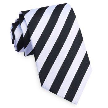 Black & White Stripes Slim Tie
