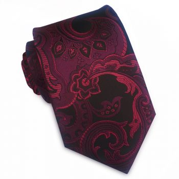 Black And Burgundy Paisley Slim Tie