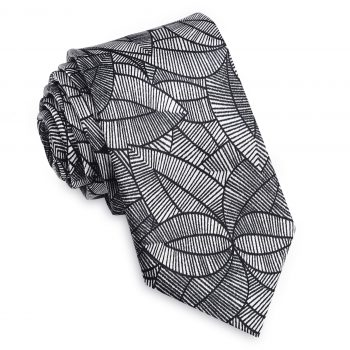 Silver With Black Geometric Leaves Slim Tie